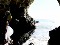 Mather in sea cave